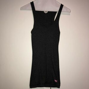 VS PINK charcoal gray fitted tank top